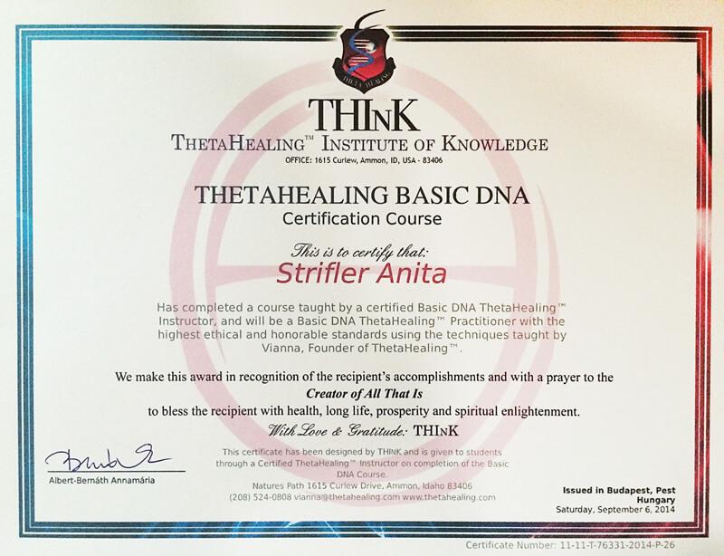 ThetaHealing oklevél